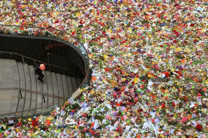 Floral tributes at Martin Place (c) ABC NEWS